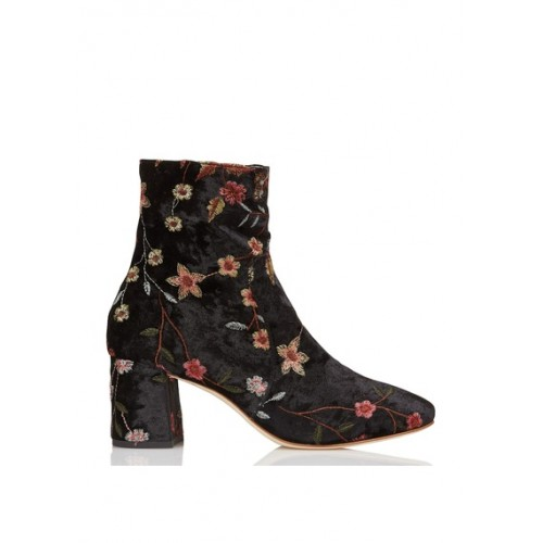 ANNIEL - Women - Embroidered velour ankle boots - Women's Shoes - Ankle Boots 8QXKw1kO