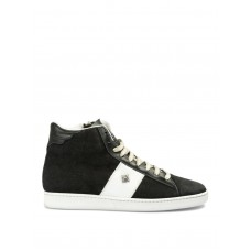 John Richmond - Suede high top sneakers with studded band - trainers - 5811 B - Black 7bkXg7e2