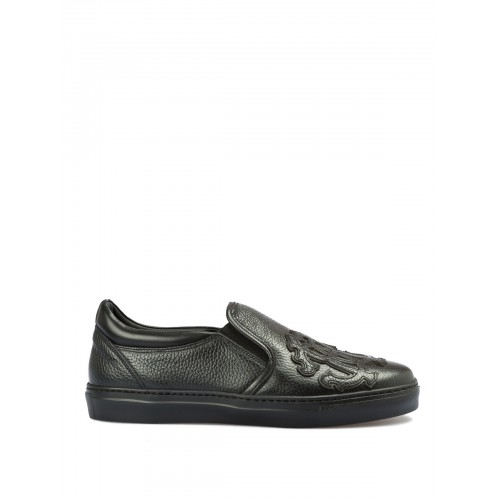 Roberto Cavalli - Maxi logo patch leather slip-ons - trainers - 5251A - Black 1Xx5SgGR