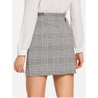 Button Up Knot Front Plaid Skirt - coffee - Women's Skirts - skirt180823702 su368ltW