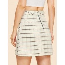 Plaid Fitted Skirt With Buckle Belt - Apricot - Women's Skirts - skirt180829404 bmIKrpqz