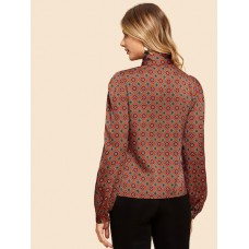 Button Front Notched Tribal Shirt - Rust - Women's Blouses - blouse180817704 FSy3Enyq